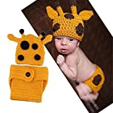 NEEVAS Baby Photography Prop Giraffe Woolen Crochet Set Girl Boy Pajamas Costume