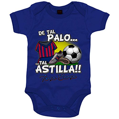 Body bebé De tal palo tal astilla Barcelona fútbol - Azul Royal, 6-12 meses