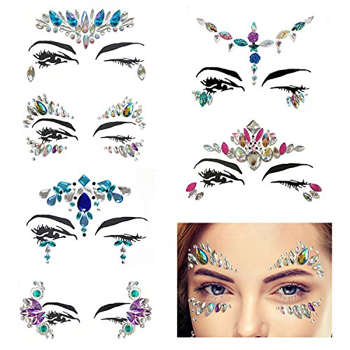 6 Sets Face Jewels Festival Face Gems Strass Bindi Kristalle Festival Gesicht Juwelen Sticker Strass Gesicht Aufkleber Temporäre Tattoos für Augen Gesicht Körper Aufkleber,Party Make-Up Strass Rave (Make-up Sticker)