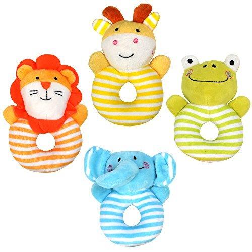 Tumama 4 Stück Neugeborenes Säugling Baby-Rasseln Ring Plüschtiere Handbell Greifen Weich Gefüllte Rassel Spielzeuge für Kleinkind Elefant,Löwe,Frosch,Hirsch (Neugeborene Gefüllte Für Spielzeug)