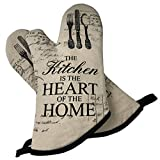 GREVY 2er Set Ofenhandschuhe Baumwolle Backhandschuhe,Beige mit Aufschrift:The Kitchen is the Heart of the Home.