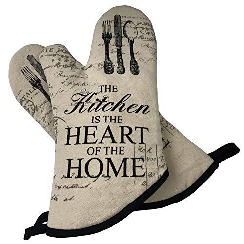 GREVY 2er Set Ofenhandschuhe Baumwolle Backhandschuhe,Beige mit Aufschrift:The Kitchen is the Heart of the Home.