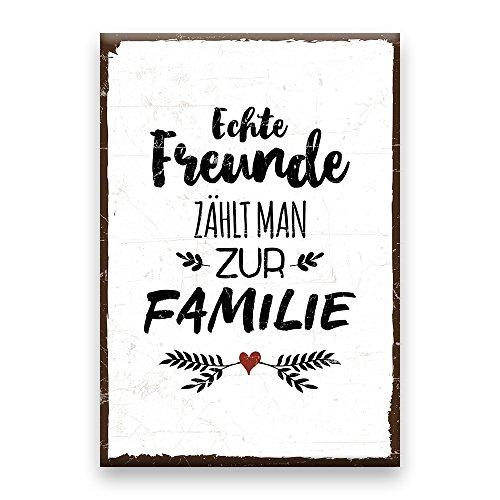Holzschild mit Spruch – ECHTE FREUNDE ZÄHLT MAN ZUR FAMILIE – shabby chic retro vintage nostalgie deko Typografie-Grafik-Bild bunt im used-look aus MDF-Holz, Schild, Wandschild, Türschild,