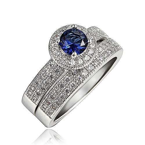 "Audbrave""Love You Better"" Double Fancy Rings Clear&Big Cubic Zirconia 18K Plated ideal Gifts (Blue(Calm), P)"