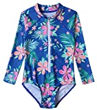 Mädchen Badeanzug UPF 50+ UV Rash Guard Einteilige Badebekleidung Langarm Kinder Body T02-3XL ZWY03