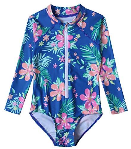 Mädchen Badeanzug UPF 50+ UV Rash Guard Einteilige Badebekleidung Langarm Kinder Body T02-3XL ZWY03 - Kinder Lange Ärmeln