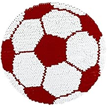 Reversible Lentejuelas Ropa Parche de Fútbol Patrón Bordado DIY Coser Parches para Ropa T-Shirt