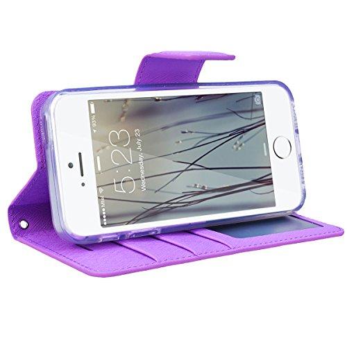 GrandEver iPhone SE 5S 5 Hülle Gute Qualität Lederhülle Schutzhülle mit Kartenfach Ledertasche Retro Tasche Scratch PU Leder Ledercase Schale Umschlag Stil Wallet Case Flip Cover mit Transparent Weich Lila
