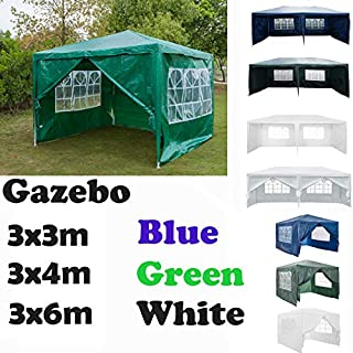 AutoBaBa Garden Gazebo Marquee 3x3x2.5m - Green - Garden Tent Outdoor Party Tent Steel Tube Strong Marquee, with Sidewalls Side Panels