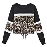 Tianwlio Damen Lässige Langarmshirt Hoodie Pullover Langarm Leopard Spleißen O-Ausschnitt Beiläufiges Sweatshirt Spitzenblusen Pullover Schwarz M