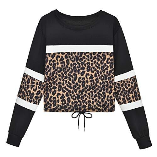Preisvergleich Produktbild Tianwlio Damen Lässige Langarmshirt Hoodie Pullover Langarm Leopard Spleißen O-Ausschnitt Beiläufiges Sweatshirt Spitzenblusen Pullover Schwarz M
