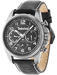 Timberland para Hombre Reloj de Cuarzo con Negro Esfera Analógica y Correa de Piel Color marrón