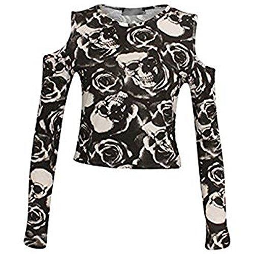 Fashion Essentials -Frauen-Oberseite Druck-Ausschnitt-Schulter-lange Hülsen-Ernte SKULL ROSE