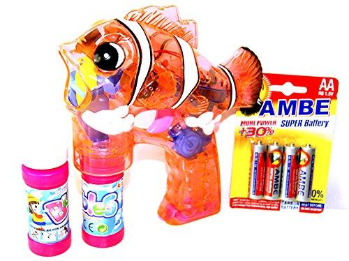 Fisch Seifenblasen Pistole Rosa LED Licht Funktion Seifenblasenmaschine Bubbre Gun inkl. 2x Seifenblasenlösung / Flüssigkeit & 4 AA Ambe Batterie