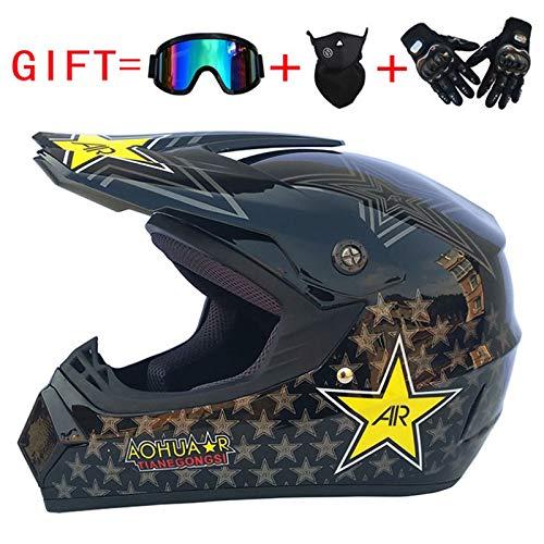 Casque de Moto-Cross avec Lunettes de Protection Gants Masque, Moto DH Tout-Terrain Enduro VTT BMX VTT Dirt Bikes Quad Casque de Cross-Country Moto (Noir, M: 56-57 cm)