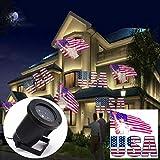 MOCHEN Led Projektionslampe, Projektionslampe der Amerikanischen Flagge Im Freien, Wasserdichtes Rasenlicht Ip44, Passend für Weihnachten/Garten Familie