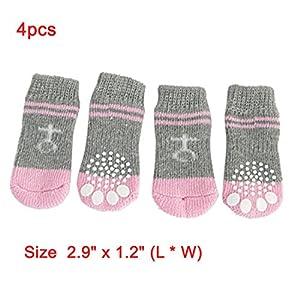 Bottines chaussettes tricotée chaude antidérapante gris et rose pour chien animal domestique