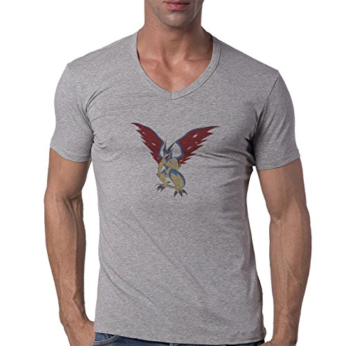 Digimon Agumon Greymon Wargreymon Wargreymon Wings Herren V-Neck T-Shirt Grau