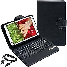 kwmobile Funda con teclado QWERTY para LG G Pad 8.3 HD con soporte - Funda protectora de piel sintética para tablet en negro
