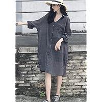 Autumn Women 'robe Décontractée Décontractée à Manches Longues à Carreaux à Carreaux Mince
