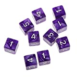 EUYOUZI Pack of 10pcs Six Sided Dice D6 Playing Dungeons & Dragons D&D TRPG Board Game Purple
