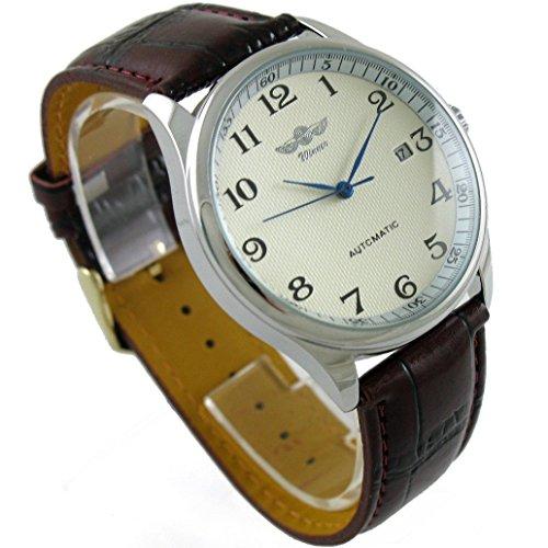 wind up watch amazon co uk gute classic winner mechanical watch white dial blue hands pu band self wind men standard