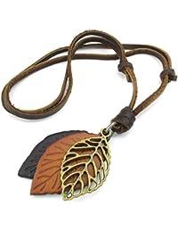 KONOV Schmuck Herren Damen Halskette, Blatt, Verstellbaren Größen Legierung Anhänger mit Leder Kette, Braun