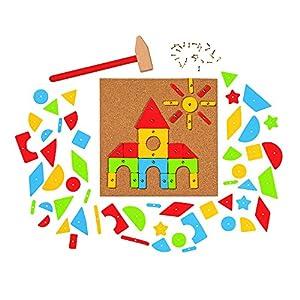 Goki- Hammer and Nail Game, Basic Puzzles de maderaPuzzles de maderaGOKIMartillo y Set de Clavos, (58578)