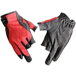 PlayCool 3dedos de corte antideslizante guantes de pesca, L, Rojo