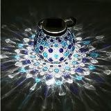 WJLG Led Lichterkette,LED-Solarleuchten, Mosaikrissbeschaffenheitsglaslicht, Solarlicht im Freien, Gartentischlampen-Gartenrasendekoration,B