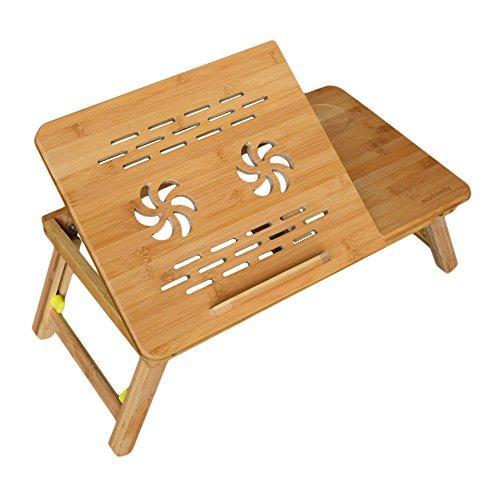 Rebecca SRL Table de Lit Notebook Bambou Natural Support PC Pratique Fonctionnel Chambre à Coucher Living (Cod. RE4619)