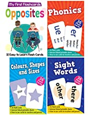 Set of 4 Primary Flash Cards Boxes (Colours, Shapes & Sizes, Opposites, Phonics and Sight Words)