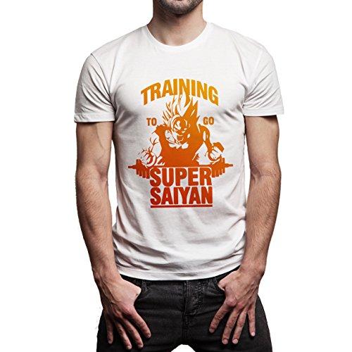 Dragon Ball Training To Go Super Saiyan Gradient Red Yellow Herren T-Shirt  Weiß