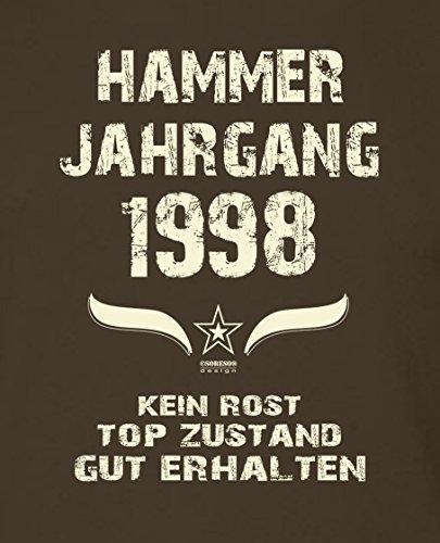 Geschenk Zum 19 Geburtstag Geschenkidee Herren Kurzarm GeburtstagsTShirt  Mit Jahreszahl Hammer Jahrgang 1998 Geburtstagsgeschenk Männer Farbe Braun  Braun