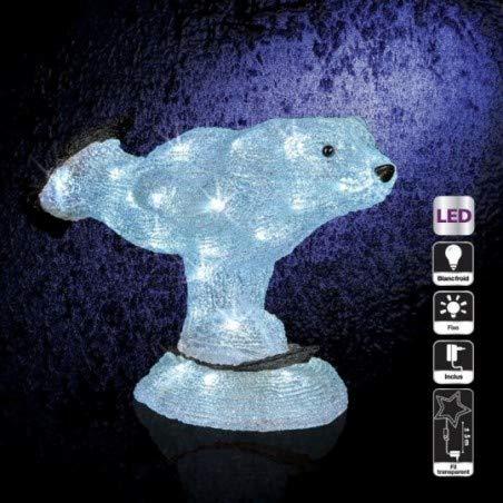 Décoration de Noël d'extérieur Lumineuse - H. 28 cm - Ours patineur