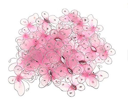 Hemore 50 Stück Drahtgeflecht Schmetterlinge 2 x 3,2 cm Kunst Basteln Dekoration - Pink M4x20 Halloween Weihnachten Thanksgiving Dekoration Geschenk