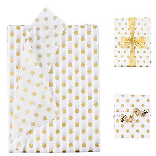BUZIFU 50 Blatt Seidenpapier Metallic Polka Punkte Gewebe Papier Geschenkpapier Gold für Geschenk Geburtstag Hochzeit Taufe Verpackung Einwickelpapier für Geburtstag, Hochzeit, Weihnachten, 50x70cm