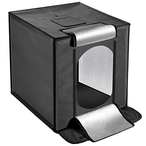 Neewer Fotostudio 40x40cm Lichtzelt faltbare Light Box Zelt mit LED Beleuchtung, Eingebautes Licht Zelt, Diffusor und 4 Schwarz, Weiß, Orange, Grau Hintergründe für Studio Fotografie