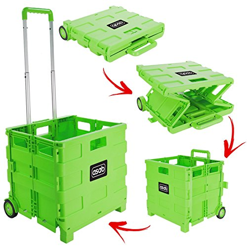 ASAB Faltbar Kunststoff Einkaufskorb–leicht Teacher \'s Book Cart–Rädern Falt-Aufbewahrungsbox Aufbewahrungsbox mit Aluminiumgriff grün–35kg
