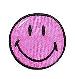 Bügelbild - Smiley pink - 5,5 cm * 5,5 cm - Aufnäher gewebter Flicken / Applikation - Gesichter Smile Emotion Smileys / lachend grinsend - bunt World - Mädchen Jungen Kinder Erwachsene - Smilies