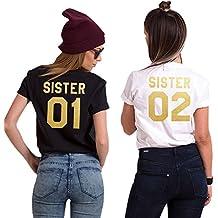 Minetom Best Friends Camisetas Mujer Manga Corta Verano Casual Moda Informal T Shirt Tops Túnica Sister