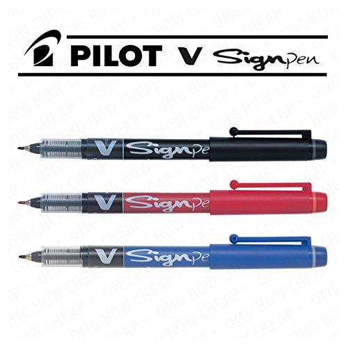 Preisvergleich Produktbild Pilot V Sign Pen–2mm Dicke Tipp–Liquid Tinte, 3Stück, schwarz, blau und rot