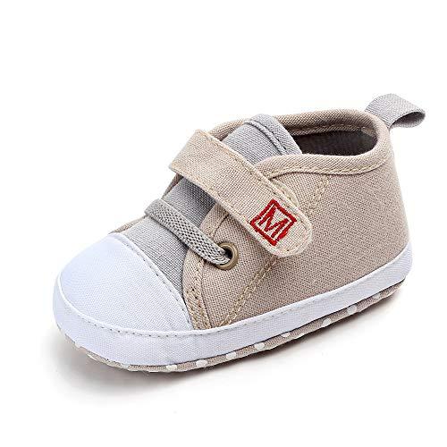 Dorical Unisex Babyschuhe Neugeborene Schuhe, Baby Junge Canvas Krabbelschuhe Sneaker Rutschfeste Lauflernschuhe Hausschuhe Weiche Sohle Freizeitschuhe Größe 3-12 Monate(Khaki,11 EU)