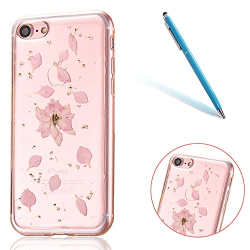 """iPhone 7 Schutzhülle, iPhone 7 Soft TPU Handytasche, CLTPY Modisch Durchsichtige Rückschale im Getrocknete Blumenart, [Stoßdämpfung] & [Kratzfeste] Full Body Case für 4.7"""" Apple iPhone 7 + 1 Stylus -  Floral 18"""