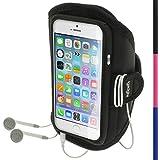 igadgitz Schwarz Wasserabweisend Neopren Sport Etui Case Hülle Schutzhülle Armband Oberarmtasche für Apple iPhone SE, 5S, 5C & 5 4G