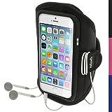igadgitz Noir Brassard Sports Résistant à L'eau pour Apple iPhone 6 & 6S 4.7' Armband Jogging Salle de Gym
