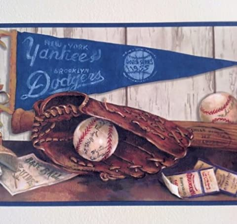 Blue Mountain Wallcoverings 5815120 Cooperstown Nostalgic Baseball Prepasted Wall Border by Blue Mountain Wallcoverings