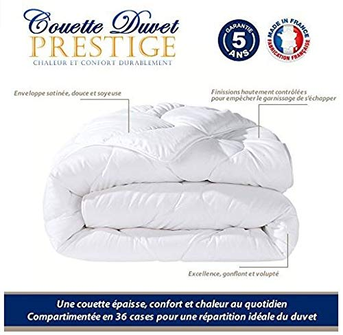 CALINUIT - Couette Duvet Luxe 240 * 260 cm 80% Duvet 20% Plumettes Pas chère Fabrique en France