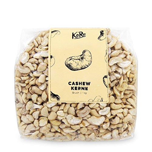 Preisvergleich Produktbild Cashewkerne / Bruch / Hell / Naturbelassen Ohne Zusätze / Ungesalzen / 1 kg Vorteilspackung / KoRo / Cashews / Nüsse