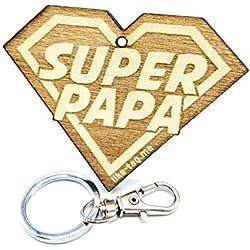 LIKE-TAG® Super Papa Llavero Original de Madera Grabado Regalo para día del Padre cumpleaños Hobby Adorno Bolsa Mochila